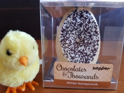 Hopper white honeycomb chocolate egg, dairy free, gluten free, nut free.