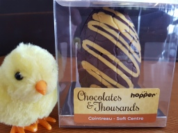 Hopper Chocolates and Thousands Cointreau Soft Centre Easter Egg.  Gluten, Dairy, Egg and Nut free, vegan.