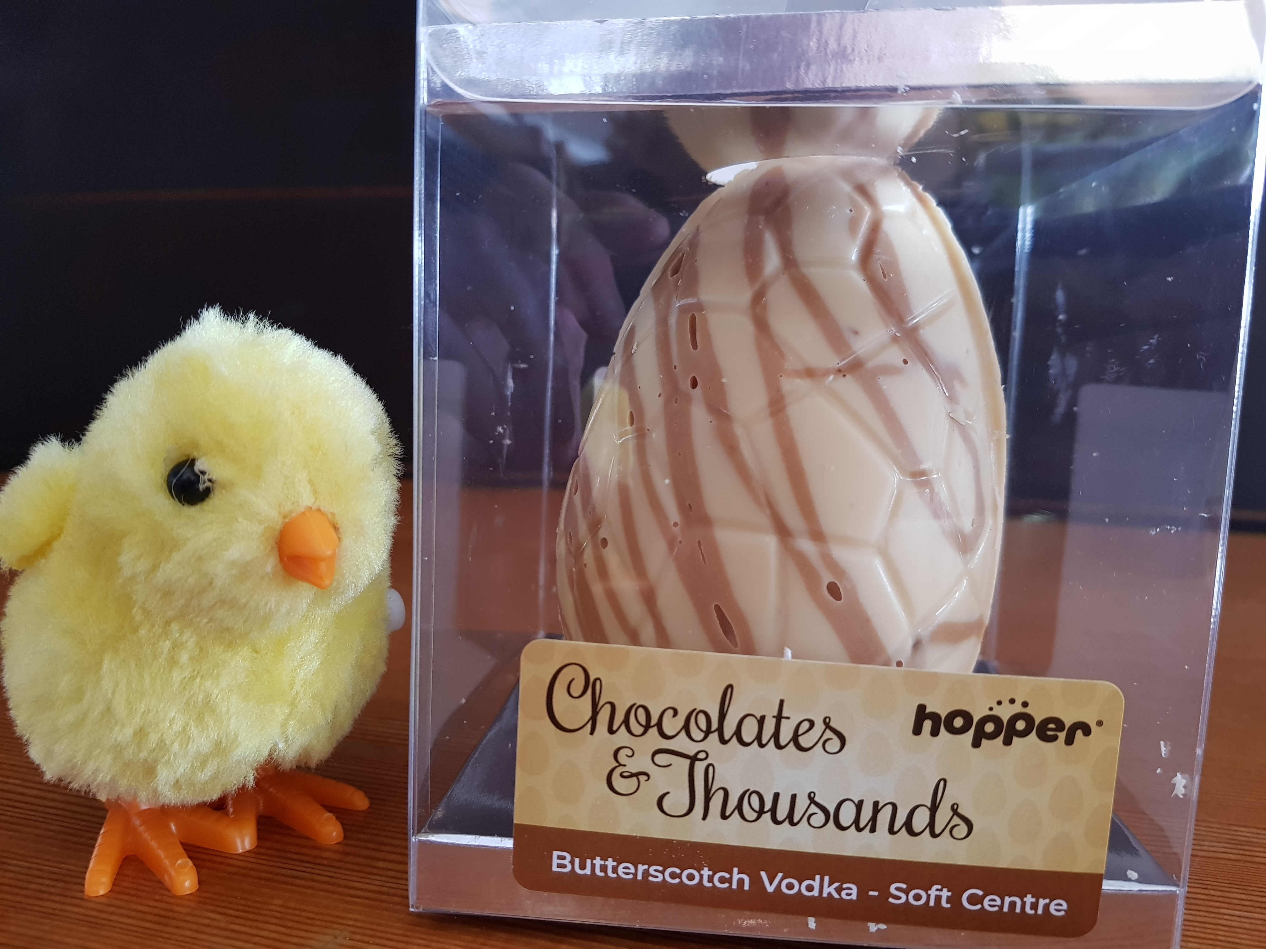 Hopper Chocolates and Thousands Butterscotch Vodka Soft Centre Easter egg. Gluten, dairy, egg and nut free
