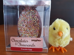 Hopper Chocoaltes and thousands, Freckle Egg. Dairy, gluten, egg and nut free, Vegan. FODMAP friendly.