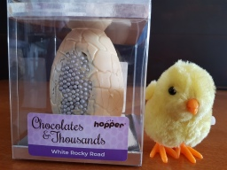 Hopper Chocolates and Thousands White Rocky Road Easter Egg, Gluten, Dairy, Egg and Nut free.